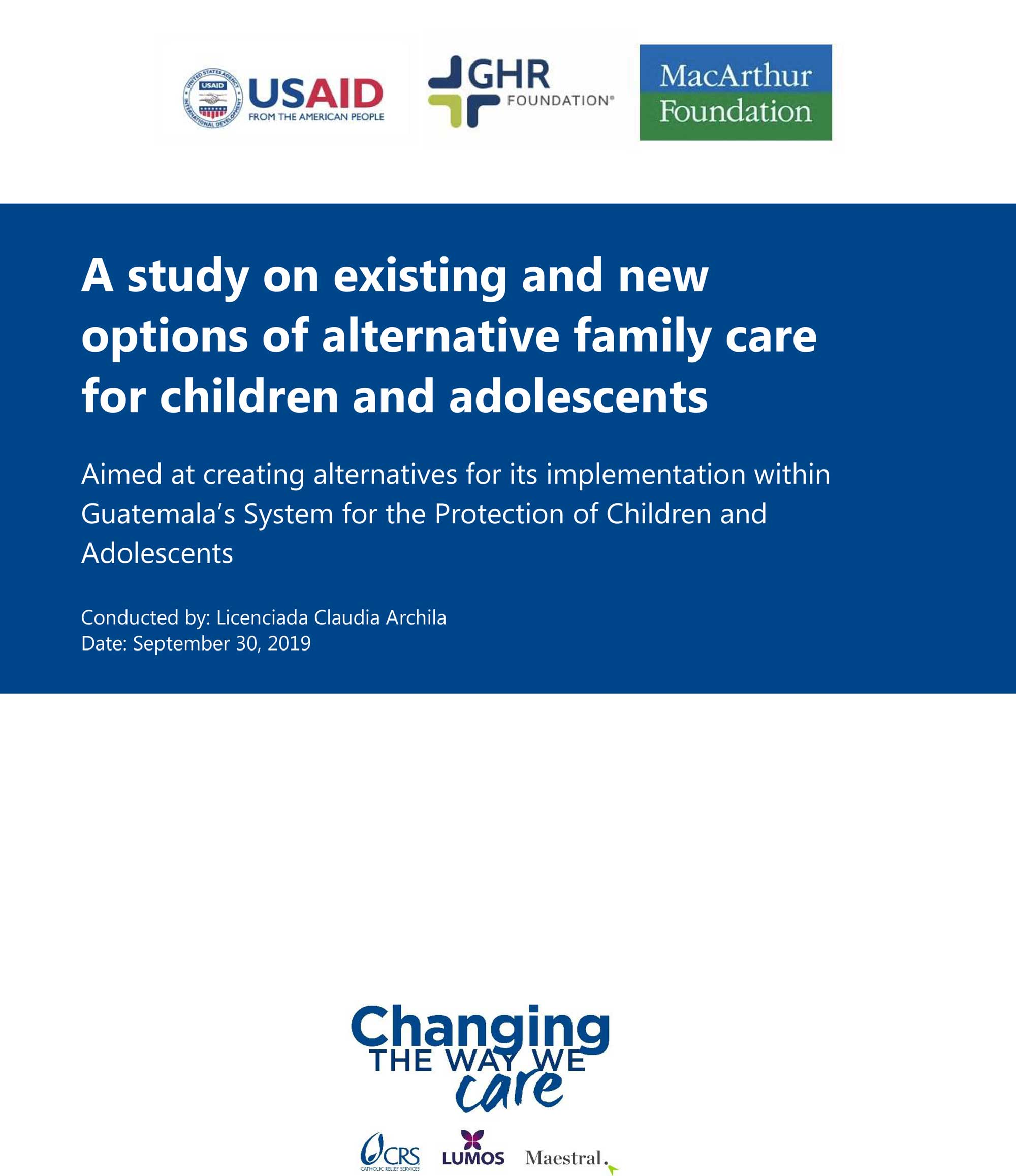 A study on existing and new options of alternative family care for children and adolescents